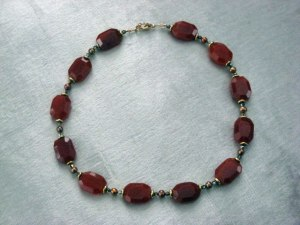 Carnelian, gold pearl and crystal