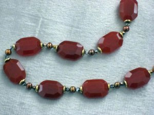 'Medb' Carnelian, gold and pearl