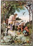 You wouldn't catch Snow White neglecting animals like that. Schneewittchen; Darstellung von Alexander Zick (1845 - 1907)  Grot'scher Verlag, Berlin. Alexander Zick, upload by Adrian Michael wikipedia.org