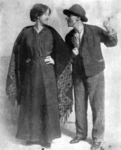 "Irish actors Sara Allgood (""Pegeen Mike"") and J. M. Kerrigan (""Shawn Keogh""), in the J. M. Synge's play The Playboy of the Western World, Plymouth Theatre, Boston Date	1911 (Isabella Stewart Gardner Museum Archive, Boston)	 copyright expired (before 1923)"