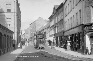 Horse drawn Tram, Shop Street, Galway. National Library of Ireland on The Commons Wikimedia Commons