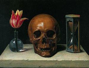 Philippe de Champaigne (1602–1674)  Still-Life with a Skull  Date circa 1671   Tessé Museum Wikipedia.org