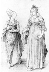 Albrecht Dürer's drawing contrasts a well turned out bourgeoise from Nuremberg (left) with her counterpart from Venice. wikipedia.org