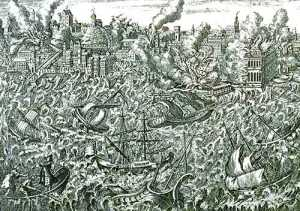 Lisbon, Portugal, during the great earthquake of 1 November 1755. This copper engraving, made that year, shows the city in ruins and in flames. Tsunamis rush upon the shore, destroying the wharfs. The engraving is also noteworthy in showing highly disturbed water in the harbor, which sank many ships. Passengers in the left foreground show signs of panic. Original in: Museu da Cidade, Lisbon. Reproduced in:  The Lisbon Earthquake.  British Historical Society of Portugal, 1990