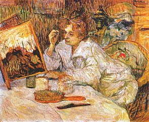 1889 Henri de Toulouse-Lautrec painting of a woman applying facial cosmetics