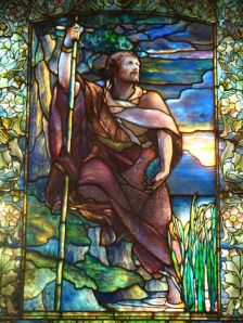 Detail of stained glass window by Louis Comfort Tiffany in Arlington Street Church, Boston.  It depicts John the Baptist. Photo:John Stephen Dwyer CC=BY=SA=3.0