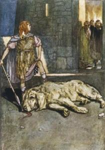 """Cuchulain Slays the Hound of Culain"", illustration by Stephen Reid from Eleanor Hull's The Boys' Cuchulain, 1904 Wikipedia.org"