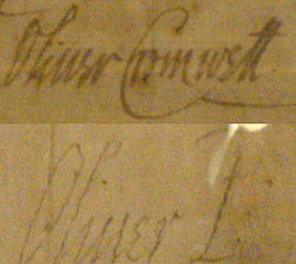 Oliver Cromwell's signature before becoming Lord 'Protector' in 1653, and afterwards.  Wikipedia.org