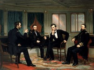 The Peacemakers Sherman, Grant, Lincoln and Porter, discussing plans for the last weeks of the Civil War, March 1865  Oil on canvas -  c. 1868 by George Peter Alexander Healy (1818-1894) White House Historical Association