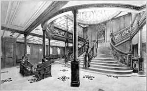 "Grand Staircase of the RMS Titanic 1912 From ""White Line Triple Screw Steamers"" booklet, White Star Line Wikipedia.org"