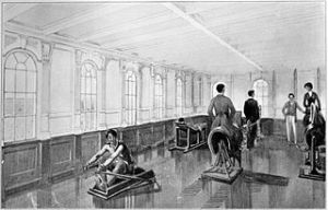 "Gymnasium of the RMS Titanic 1912 From ""White Line Triple Screw Steamers"" booklet White Star Line Wikipedia.org"