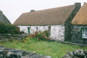 The Mac Donnchadha home, Inishmaan.  Bríd and Páidín MacDonnchadha hosted John Millington Synge here each summer from 1898 to 1902. Photo: Eckhard Pecher Wikimedia Commons