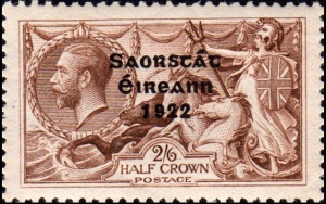 1922 2/6 value King George V stamp overprinted Saorstát Éireann 1922 for use in the newly independent Irish Free State Irish Minister for Posts and Telegraphs