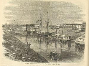 "Suez Canal, between Kantara and El-Fedane. The first vessels through the Canal. 19th century image. From ""Appleton's Journal of Popular Literature, Science, and Art"", 1869."