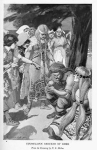 Emer rebuking Cuchulainn 1905 illustration by H.R. Millar Wikimedia commons