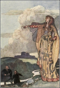 Macha curses the men of Ulster. Illustration: Stephen Reid in Eleanor Hull's The Boy's Cuchulainn 1904