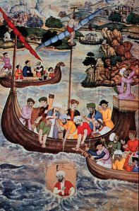 """16th century painting of Alexander the Great, lowered in a glass diving bell OAR/National Undersea Research Program (NURP); """"Seas, Maps and Men"""" Wikimedia commona"""
