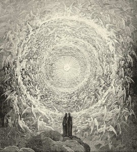"Dante and Beatrice gaze upon the highest Heaven - Gustave Doré (1832 - 1883) From Alighieri Dante; Cary, Henry Francis (ed) (1892) ""Canto XXXI"" The Divine Comedy by Dante, Illustrated, Complete.  London, Paris and Melbourne; Cassell and Co., (Wikimedia Commons)"