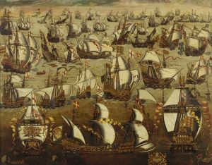 English ships and the Spanish Armada, August 1588. National Maritime Museum UK Wikimedia Commons