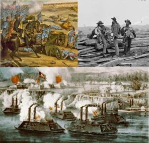 Scenes from the American Civil War. Top left: Battle of Stones River; top right: Confederate prisoners of war; bottom: Battle of Fort Hindman. Hal Jespersen at en.wikipedia