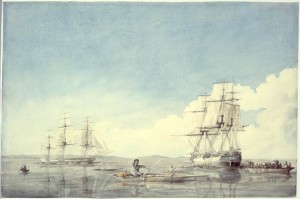 The Hudson's Bay Company ships Prince of Wales and Eddystone bartering with  Inuit off the Upper Savage Islands, Hudson Strait;  Robert Hood (1819)