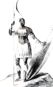 Shaka, king of the Zulu. After a sketch by Lt. James King, a Port Natal merchant.