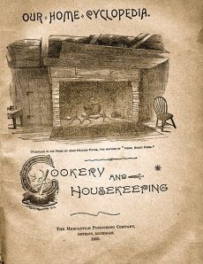"Title page of ""Our Home Cyclopedia,"" of ""grocery and housekeeping - 1889  Mercantile Publishing Company Wikimedia Commons"
