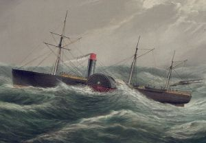 Detail from a lithograph of the United States Mail steamship SS Pacific (launched 1849). Day & Son (England), held at the Library of Congress Prints and Photographs Division Washington, D.C. USA. Sam Walters Wikimedia Commons