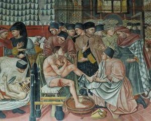 Healing the sick, fresco by Domenico di Bartolo. (1400-1447) Sala del Pellegrinaio (hall of the pilgrim), Hospital Santa Maria della Scala,Siena Wikimedia Commons