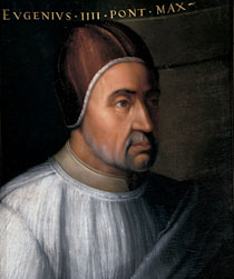 Pope Eugenius IV. 3 March 1431– 23 February 1447 (15 years, 357 days) Copy of a painting by Jean Fouquet Wikimedia Commons