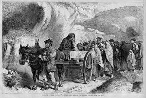 Funeral in the Maamturk Mountains of Connemara, Ireland. Harper's Weekly June 1870