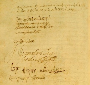 Signature page from  Annals of the Four Masters University College Dublin Archives Department