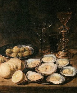 """Alexander Adriaenssen - Still-Life with Oysters - by Alexander Adriaenssen - Web Gallery of Art:  Wikimedia Commons"