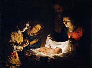 Gerard van Honthorst (1590-1656) Adoration of the Child  c. 1620 Wikimedia Commons