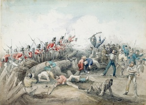 Eureka stockade battle by J. B. Henderson  Watercolour 1854 State Library of NSW.  Wikimedia Commons