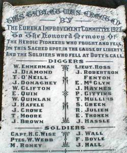 A memorial stone for those who died in the Eureka Stockade.  Construction of the monument in Ballarat was completed in 1886. Imagen: Wikimedia Commons