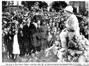Photo: Mr deValera unveiling statue of Padraic O'Conaire Photo: Irish Press 10th June, 1935