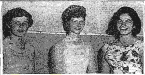 The Queen of the Carnival at Kinvara with two attending ladies left to right Miss Concepta Callanan, Caherglissane, Miss Kathleen Forde, Ballybuck (Queen) and Miss Annie Nolan, Crushoa. Connacht Tribune 1959