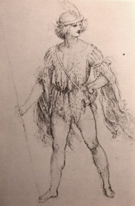 "Drawing of a fancy dress costume late 15th - early 16th Century Leonardo da Vinci (1452 - 1519) A.E. Popham ""The Drawings of Leonardo"" Wikimedia Commons"