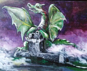Dunguaire Dragon Acrylic on board EO'D
