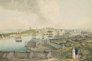 View of Sydney Cove from Dawes Point Source An Historical account of the Colony of New South Wales Author Lycett, Joseph, ca. 1775-1828