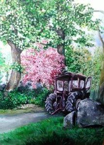 Burren Tractor Acrylic on canvas EO'D